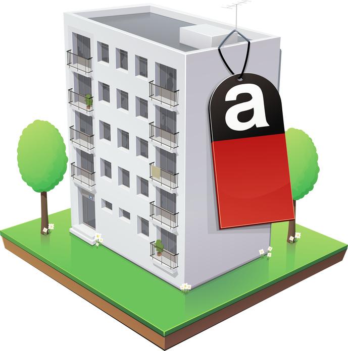 Immeuble  et son tiquette amiante (reflet)